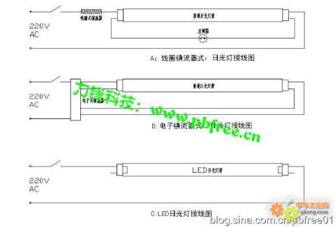 几种常见日光灯管接线图