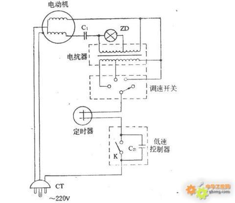 电容启动台式电风扇接线图